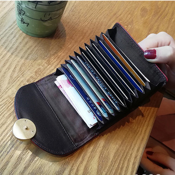Superior Quality Competitive Price Real Leather Credit Card Holder Black For 15 Cards