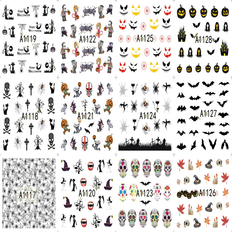 A1081-1128 Mofonails 12 in 1 Halloween Day Theme Water Transfer Nail Art Stickers 2D Nail Art Paper Sticker