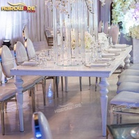 Rectangle metal frame mdf top dining event white table