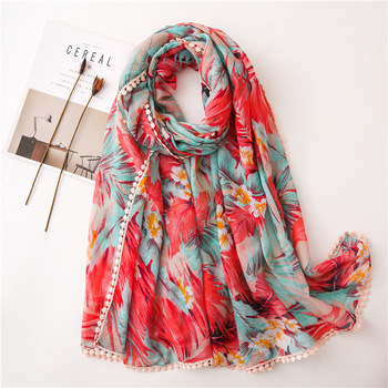 Wholesale Custom Floral Print Women Hijab Linen Cotton Scarf With Tassel