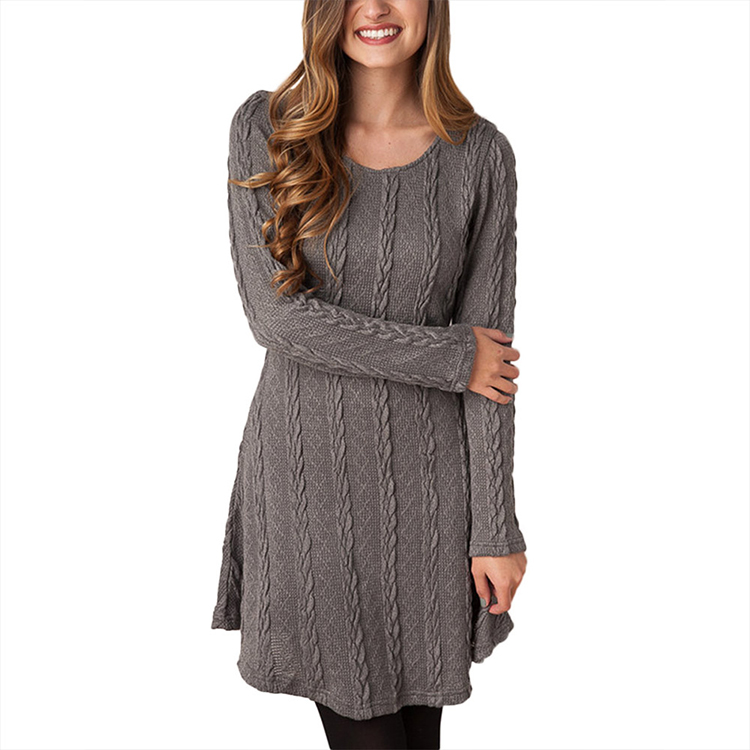 Pure Color Round Neck Long Sleeve Short Women Knit Sweater Dresses Casual