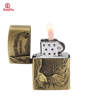 personalized classic copper material engrave customize logo metal petrol flint spark sizes stone lighter for parts
