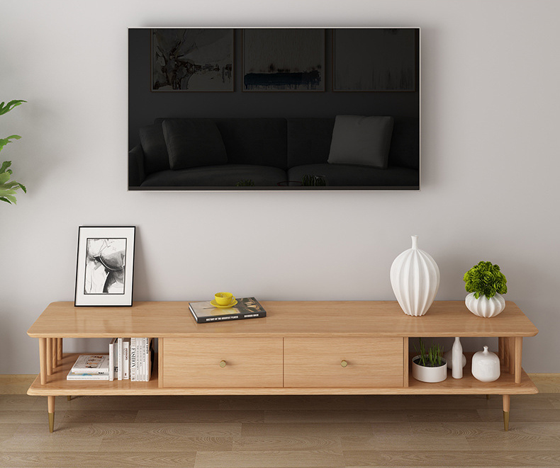 product-Modern living room furniture wall tv cabinet solid wood natural solid wooden tv table furnit-1