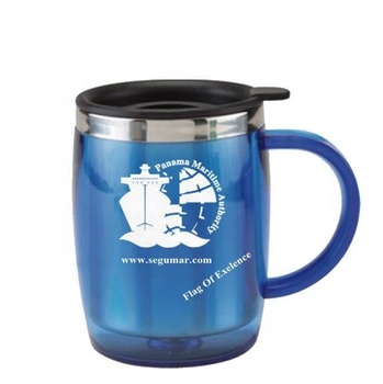 Wholesale Customized Blue 450ML Double Wall Plastic Stainless Steel Mug With Handle And Lid