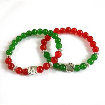 2019 Dog Pet Jewelry Natural Stone Red And Green Jade Silver Paw Christmas Bracelet For Couple
