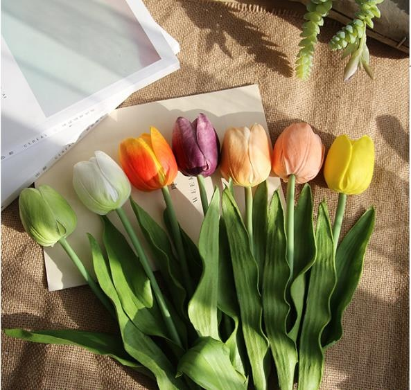 Venda quente Holland Bulbos de Tulipa Artificial Branco PU Tulipa