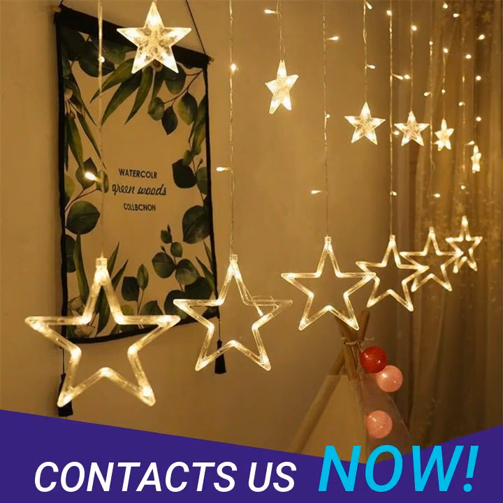 Dream Color Copper String Lights Star Curtain Window Decorative String Light For Bedroom