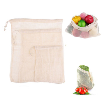 Big Size Reusable Washable Cotton Mesh Tote Bags For Vegetable Fruit Bag