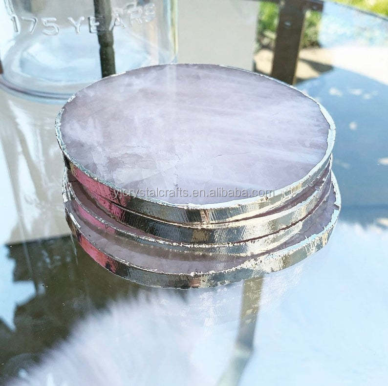 Rose Quartz Round Slice Gold Coasters Large Quartz Crystal  Stone Coasters