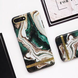 Fashion Artistic agate marble gold bar Phone Case  Glossy soft silicon case Back cover For iphone XS XR XS Max 6 6S 7 8 Plus