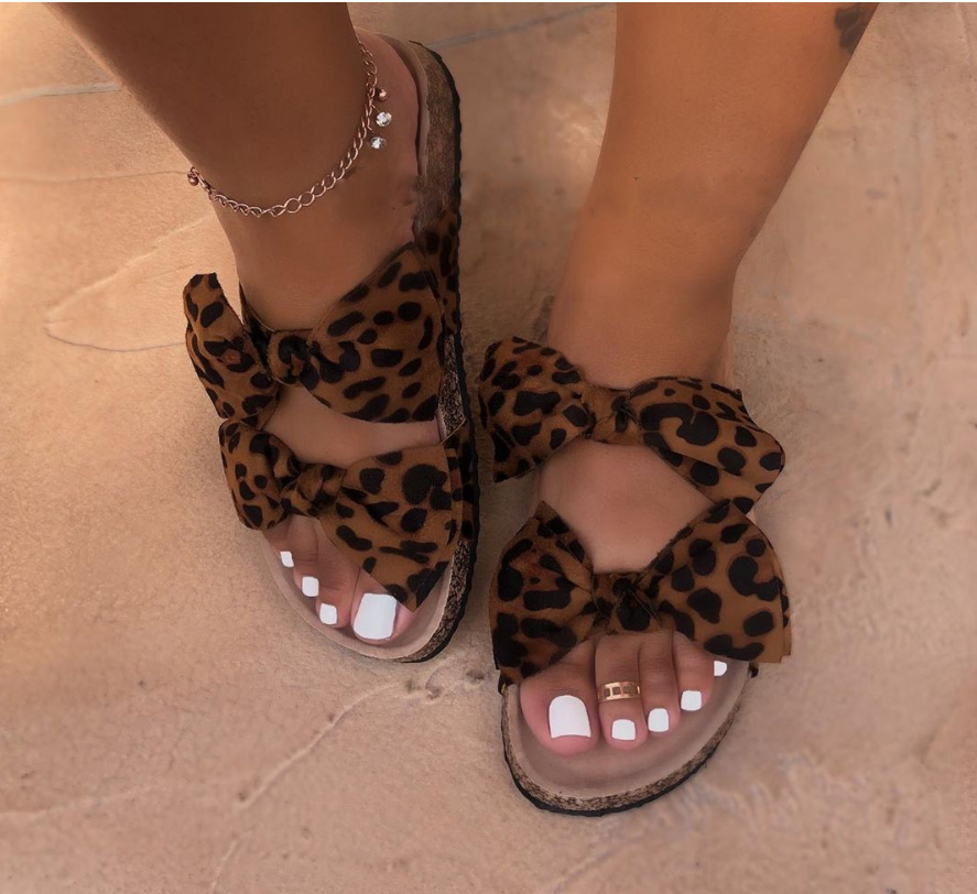Best selling summer women's shoes fashion sexy bow slippers ladies cute leopard flat <strong>sandals</strong>