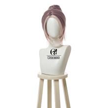 ROLECOS игровой костюм LOL Akali сексуальный Nurse V косплей парик LOL настоящий ущерб Akali косплей волос коричневый смешанный серый конский хвост синте...(Китай)
