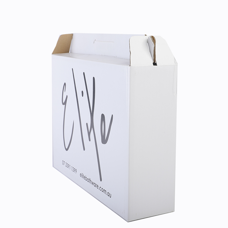 Customized white corrugated carton carriers juice beverage beer packaging box with handles