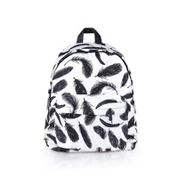 Fashion Elegant Black Feather Unicorn Panda Printed Mochila Backpack for Ladies Women Girls