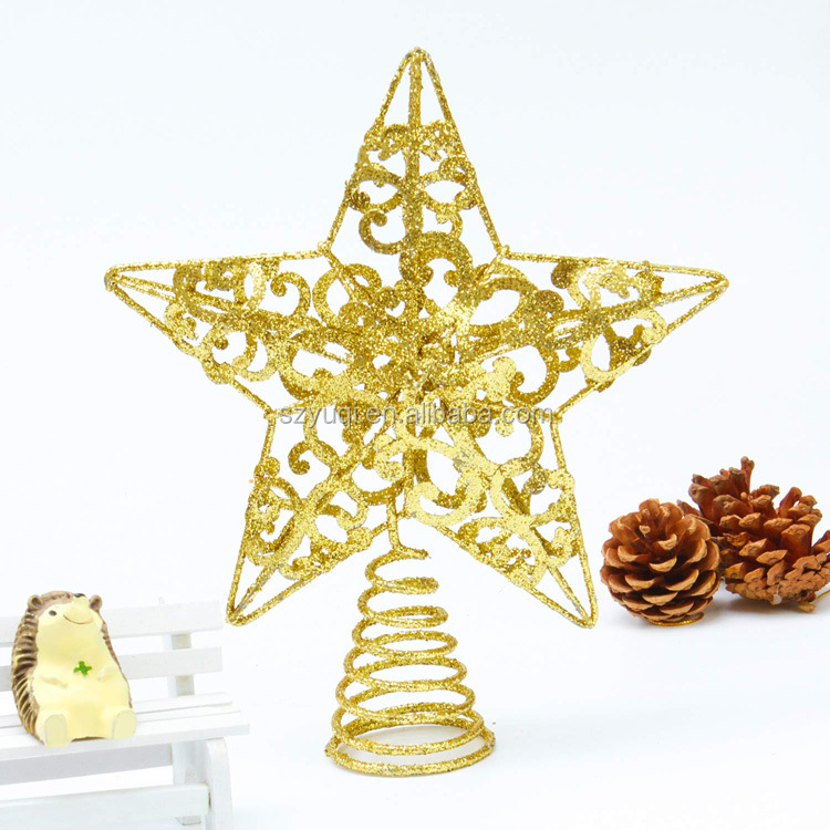 Unique Design 8 Inches Silver Glittered Metal Christmas Star Tree Topper