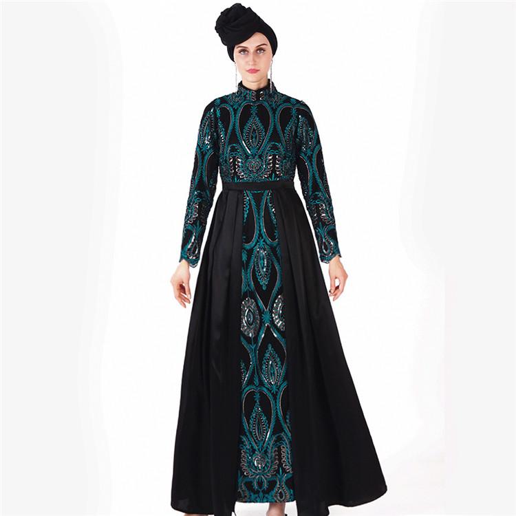 2020 Sottile Paillettes Chiffon Abaya Delle Donne Delle Ragazze del Vestito Lungo Maxi Vestito Da Musulmano abaya dubai abbigliamento islamico