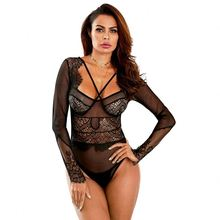 Großhandel Frauen Lange Hülse Criss-cross Neck Sheer Mesh Sexy Transparent Body
