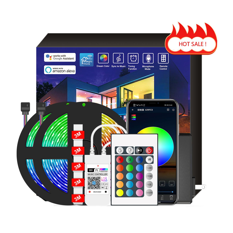 10m 5m RGB Recessed LED Strip Light LED Strip 12V  24V 1 Set Battery 5050 with Remote