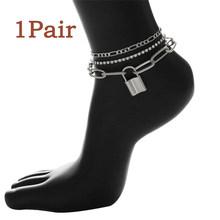 Женский браслет на ногу с цепочкой в стиле панк, с подвеской-замком и кристаллами, регулируемые роскошные стразы, босоножки с тонкими звенья...(Китай)