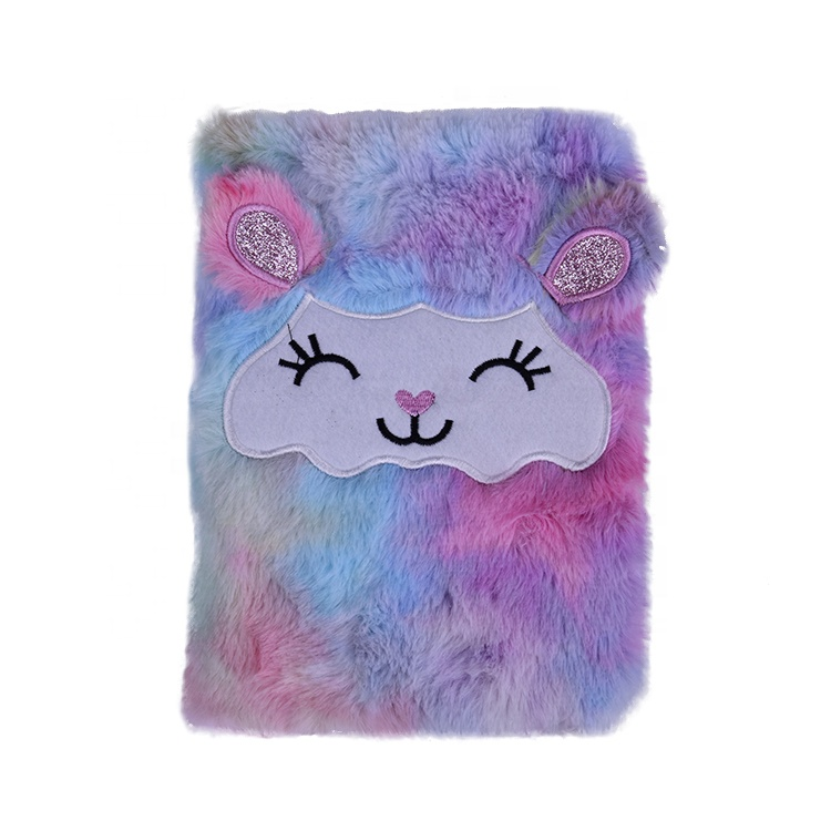 OEM&ODM Lovely Rainbow Color A5 Custom Logo Spiral Personalized High Quality Velvet Notebook Plush Notebook