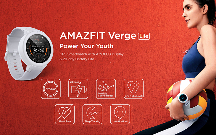 Global Version Xiaomi Huami Amazfit Verge Lite Wristwatch 1.3 Inch AMOLED Screen IP68 Waterproof Multi-Sports Smartwatch