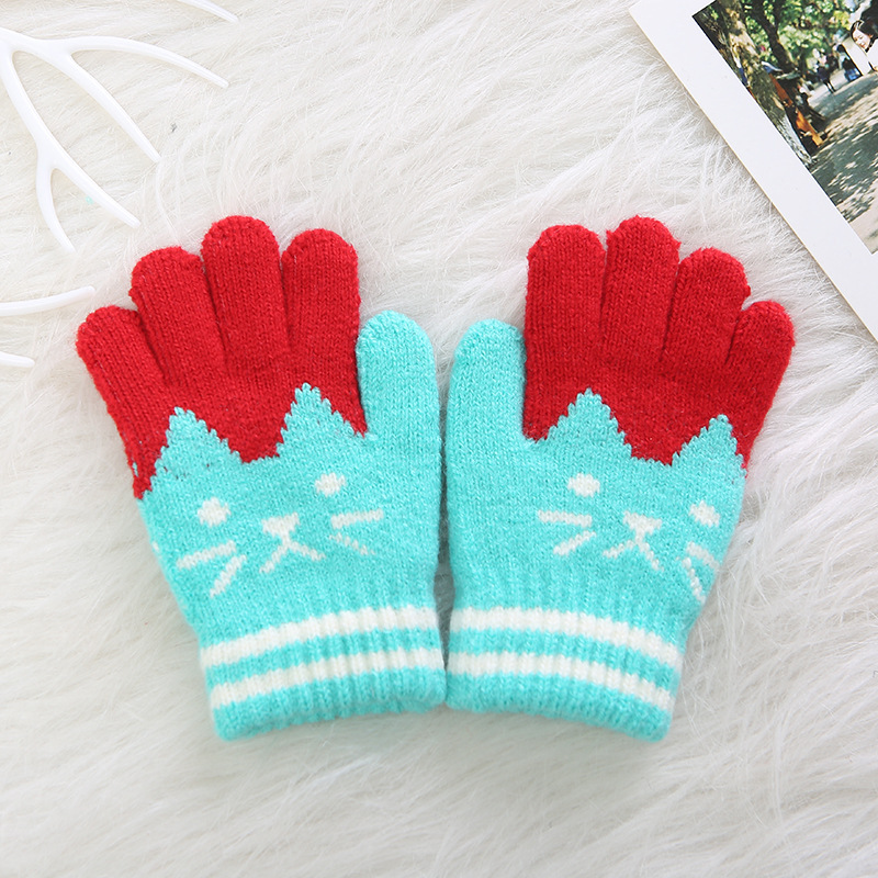 Wholesale children winter knit mittens kids long finger cartoon cat thick gloves