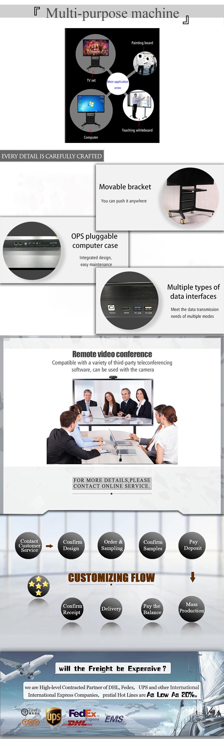 55 pulgadas portátil pizarra tablero inteligente interactivo tablero blanco