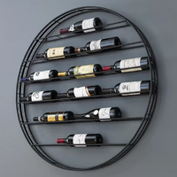 Black metal House wall decoration round shape wrought iron wine racks wall mounted