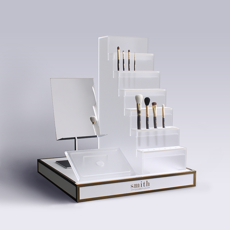 New Design Apex White Acrylic Cosmetic Display Stand With Mirror