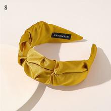 Модный плиссированный обруч для волос, Женская повязка на голову с леопардовым цветочным принтом и широкими полями, одноцветная повязка на ...(Китай)