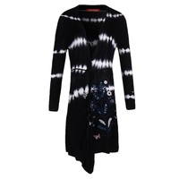 Black Color Tie Dye V Neck Winter No Button Long Sleeve Knit Old Womens Cardigan Sweater