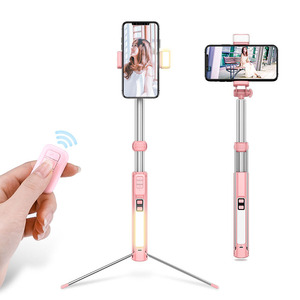 2019 Hot Selling Portable Selfie Stick Tripod Bluetooth , Flexible Mobile Selfie Stick With Led Light