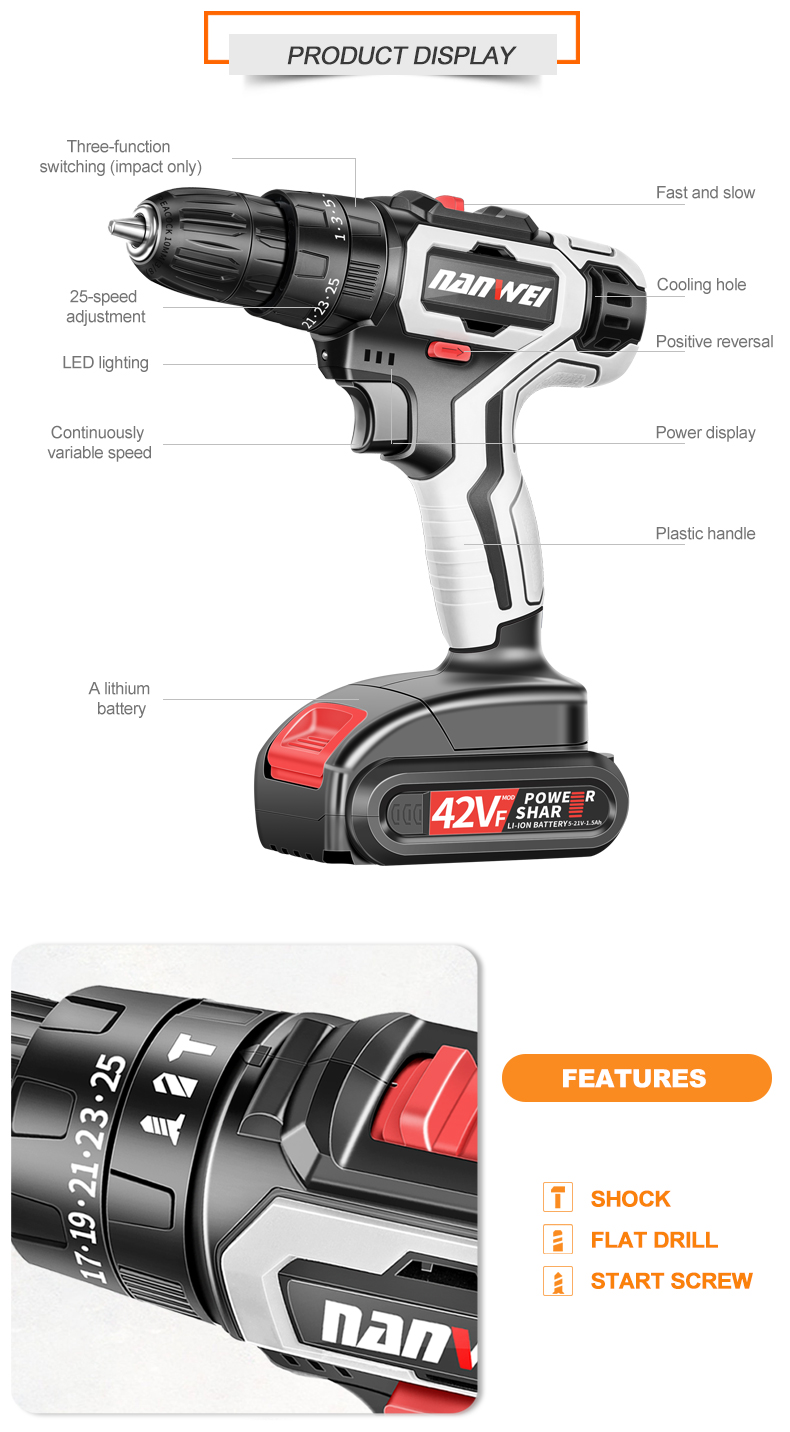 18v cordless drill with two battery electric drill kit sale low price