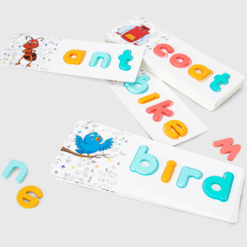2020 New Custom Creative English Word Game Matching Board Toddler Kids Wooden Educational Toys
