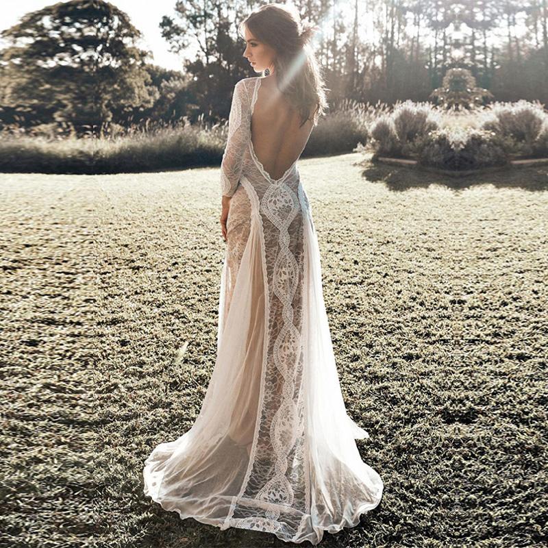 Fashion White Dreamy Long Sleeve Floral Lace Maxi Evening Bridesmaid Wedding Dress