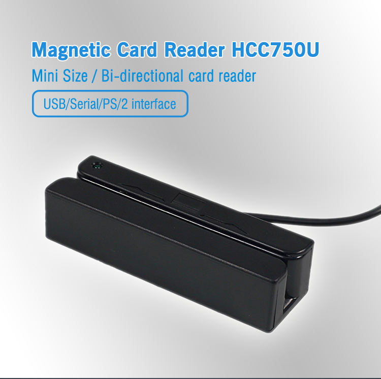Portable Small Tracks1&2&3 Magnetic Mini Card Reader MSR HCC750U-06 (Ver2.0)