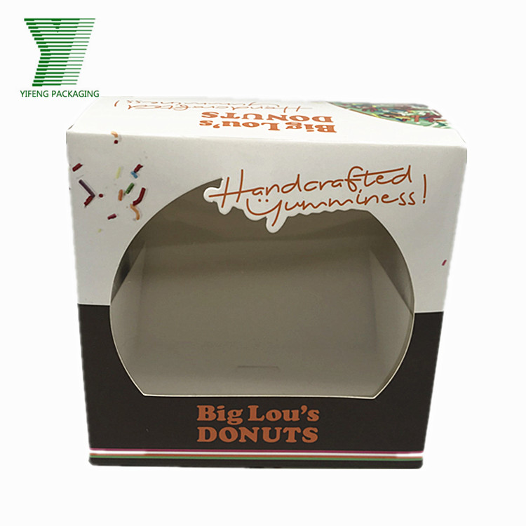 Custom Printing 12inch Kraft Paper Donuts Box Transparent Clear Cake Box