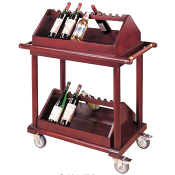 Wooden Service  Wine Cart For Hotel, Cheaper Liquor Service Trolley