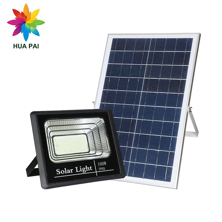 HUAPAI CE Rohs ip65 waterproof 10w 25w 40w 60w 100w 200w 300w rechargeable <strong>outdoor</strong> solar power <strong>led</strong> flood <strong>light</strong> 100w