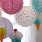 Highly Welcomed Customized Donuts Round Hanging Printed Paper Lantern Set