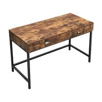 VASAGLE Industrial vintage I shaped MDF Computer Writing Desk, Space-Saving Wooden Study Desk with Storage Drawers