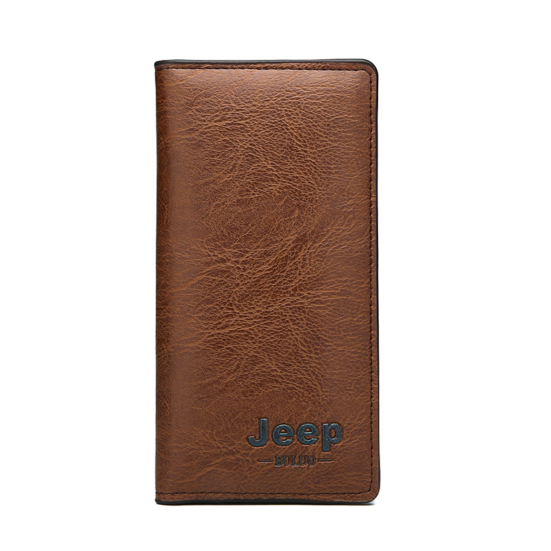 Best selling cheap Classic Long customized casual style man slim wallets vintage PU purse can accept customized logo