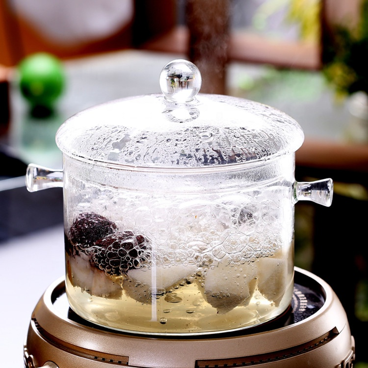 Custom Logo Food Grade Lead-free Clear Pyrex 1700ml Glass Cooking Pot