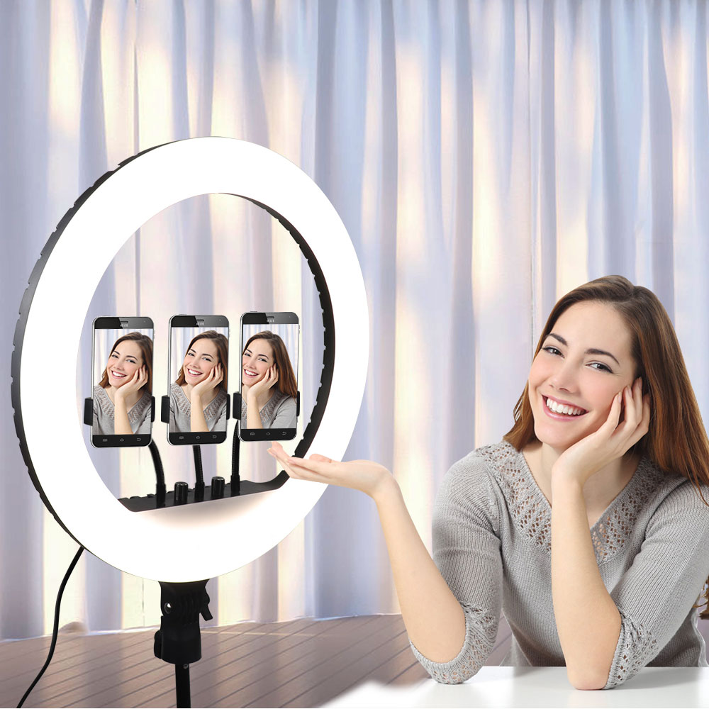 18 inch Ring Light, Dimmable Photographic Lighting Selfie Ring Light With Tripod Stand