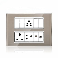 India type 12M glass light wall light SKD changeable wholesales electrical switching sockets panels plate modular switches