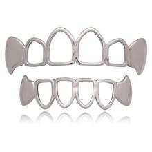 Цвета: золотистый, серебристый Цвет декоративные Зубные коронки для Для мужчин верхней и нижней полые решетки рот поддельные зубы колпачки ...(Китай)