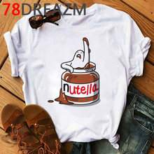 Женская футболка Nutella, летняя футболка каваи размера плюс, футболка унисекс с забавным мультяшным рисунком, футболка в Корейском стиле(China)