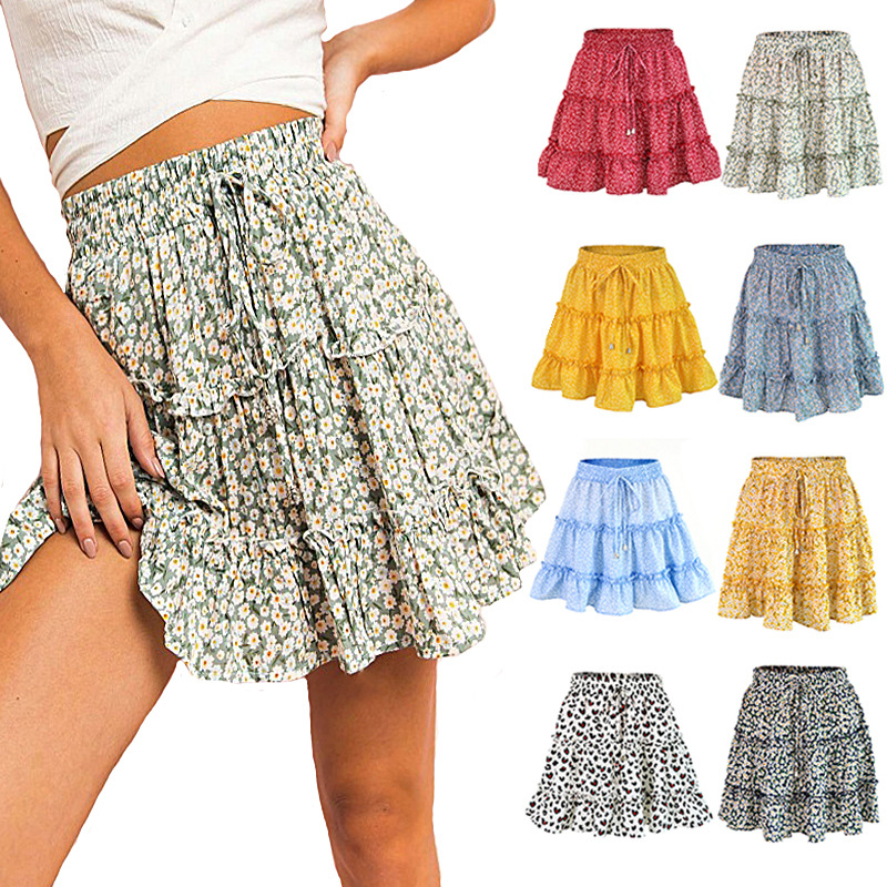 セクシーな女性のファッションハイウエストフリルスカートための女性ブロークン花ハーフレングスのスカートプリントビーチショートミニスカート