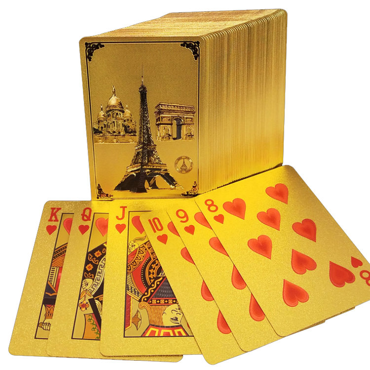 Custom Printing paper plastic golden 24k poker set box gold plated playing cards