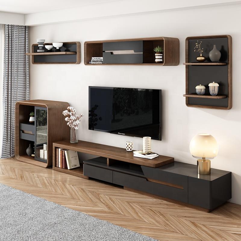 Jieshi Furniture Walnut And Black Adjustable Modern TV Stand For Living Room
